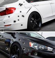 Car scratch simulation bullet hole crack sticker