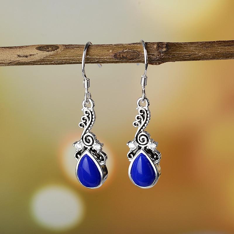 Goedkope Dames Oorbellen Fashion Thai Style S925 blauw