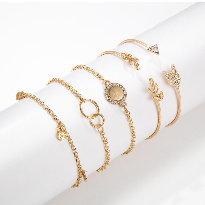 334267681396 Arrow Leaf Bracelet Five Piece Bracelet