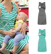 Striped dress breastfeeding skirt