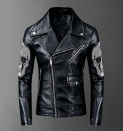 Autumn and winter punk rock motorcycle rivet leather coat
