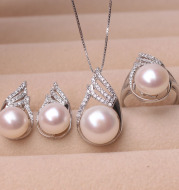 Pearl Freshwater Pendant Earring Ring three piece set