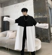 Black and white contrast color mid-length trench coat