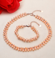 Freshwater Pearl Necklace Bracelet two piece