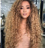 African curly hair curlers with long curly hair