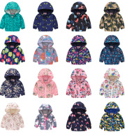 Hooded jacket with print pattern