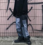 Beggar patch color-block jeans