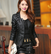 Lace leather coat
