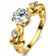 Gold-plated love curve ring female fashion zircon jewelry