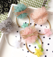 Korean cat Lace zircon dress Hair accessories elastic hair band for Girls high quality rubber Ties
