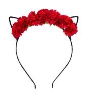 Cat ears anime headband headdress cloth flower head buckle travel vacation photo hair accessories