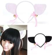 Plush cat ears headband Bells anime show ball headwear Maid catwoman cosplay hairpin