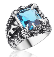 Blue Claw Stone Ring