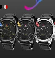 Trend casual double men's watch LED Japan imported movement belt quartz watch