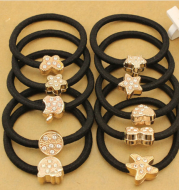 10Pcs / lot Korean Crystal Heart Cat Star Butterfly Black Elastic Holders of Ponytail Hair Accessories Girl Women Rubber Band