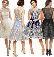 Aliexpress EBAY Amazon Women's explosion of European and American boutique vintage dress embroidery dress.