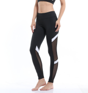 Fitness sports leggings two-section mesh high waist elastic breathable hip yoga clothes