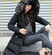 The new cotton padded winter long big girls slim Korean fur collar size feather padded female thickening