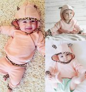 Leopard hooded sweater suit Pink hooded suit Leopard hooded suit