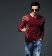 Gold Pattern Long Sleeves Shirt