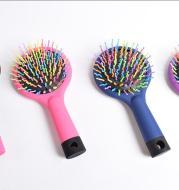 Anti - static Magic rainbow volume detangler wave massage comb brush straight hair styling tools with mirror
