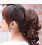 Trendy Korean style tiger ponytail curls Tied ponytail wigs