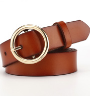 Women's belt female wide leather casual wild student belt fashion round pin buckle with jeans belt
