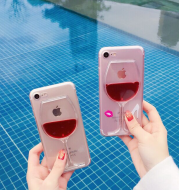 3D Hot Red Wine Liquid Glass Lips Transparent Sand Transparent Phone Case Cover For iphone X 4 4S 5 5S SE 6 6 s 7 8 BEYOND Hard Back Cover