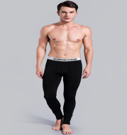 Men's Qiuku single piece youth tight cotton plus velvet leggings Slim student warm pants