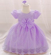 Baby dress female baby short-sleeved full moon hundred days old dress wave pattern small trailing princess dress