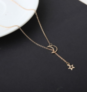 Simple Moon Star Necklace Clavicle Chain Short Necklace