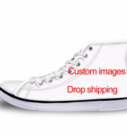 Men's Vulcanize Shoes Classic Superstar High Top Canvas Shoes Customized Pictures Drop Shipping Men Flat Sneakers