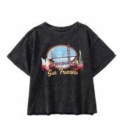 Retro Black American San Francisco Printed Washed Old Loose Short Sleeve T-Shirt