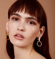 Palm ring earrings street fashion street shooting 925 silver needle plated 18K real gold earrings