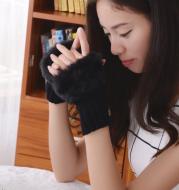 Solid color gloves winter plush wool warm gloves half finger gloves