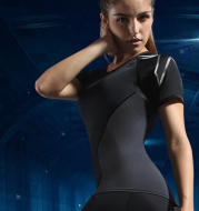 Compression sports tights short-sleeved women's stretch yoga clothes running quick-drying T-shirt training fitness clothing female slim suit
