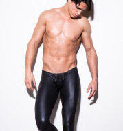 Men's faux leather trousers nightclub tight pajama sex sexy paint leather men's casual pants