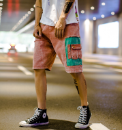 Summer color Japanese retro casual couple shorts wild tide brand shorts male five pants male
