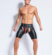 Eurn and American sexy underwear men's models  patent leather men's tights wild leather shorts1