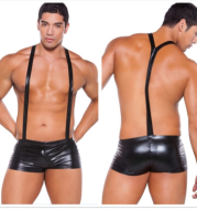 Sexy lingerie sexy men's patent leather suspenders boxer shorts shorts nightclub stage show