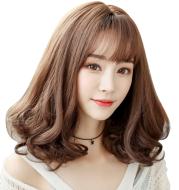 Wig female pear head long curly hair air Qi Liu Hai girls wig Korean face hair wig