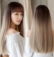 Fashion realistic hair long straight hair wig jiafa chemical fiber wig