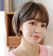 Wig female short hair Korean air bangs bobo wave head realistic chemical fiber wig headgear