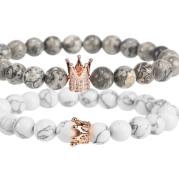 Micro inlaid zircon crown bracelet volcanic stone white turquoise bracelet