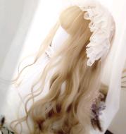 Lolita wig 65cm white tung flax large roll wig