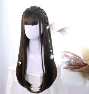 Lolita wig 65cm + black long straight wig