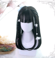 Lolita wig Ji Fazhong long straight wig air bangs + simulation big scalp