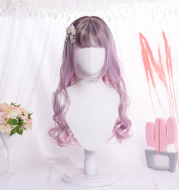 Korean version of the pink Qi Liu Hai curly cute hood birthday party wigs realistic wig