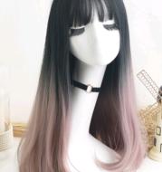 New wig female hair gradient fashion long straight hair set air bangs chemical fiber hood