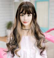 Ms. Multicolor Gradient Fashion Big Wave Long Curly Hair Air Liu Hai Chemical Fiber Wig Headgear
